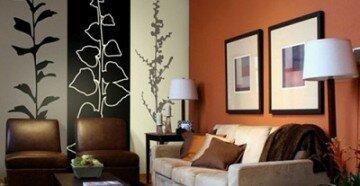 Комбинирование обоев в гостиной