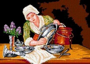 Гравюра девушка моет серебряную посуду