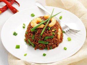 Рис с креветками и стручковой фасолью