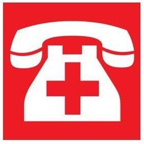 Телефон с красным крестом