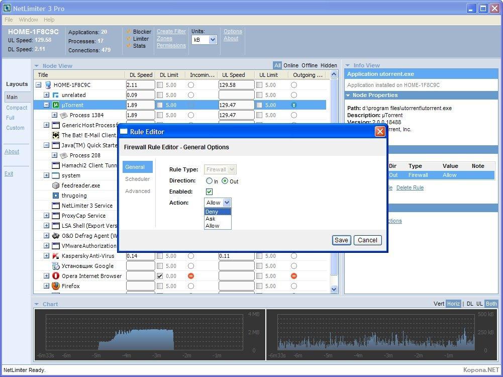 Программа NetLimiter