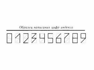 Обазец написания цифр индекса