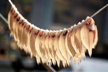 Прозрачная рыбка сохнет на веревке