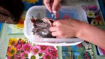 Женщина солит рыбу