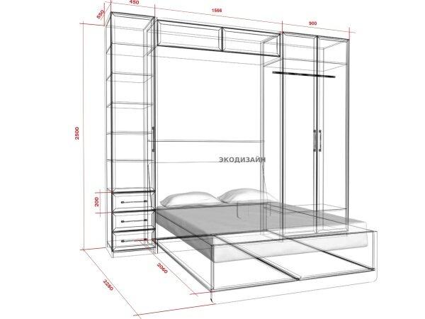 Чертеж подъемной кровати