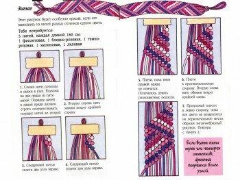 Схема плетения зигзага из пяти нитей