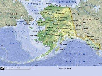 Географическая карта Аляски