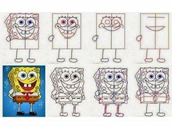 Этапы рисования Губки Боба