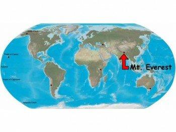 Эверест на карте мира