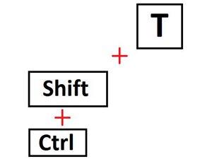 Комбинация клавиш для возвращения закрытой вкладки