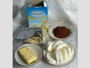 Ингредиенты для конфет из молочной смеси с мороженным
