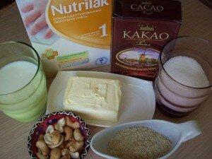 Ингредиенты для конфет из молочной смеси с какао и орехами